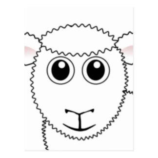 Smiling White Sheep Face Postcard