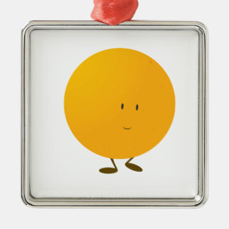Smiling whole orange character metal ornament