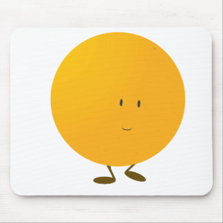 Smiling whole orange character mouse pad