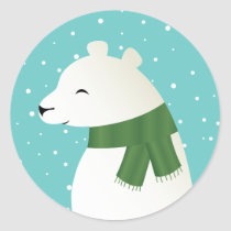 Smiling Winter Polar Bear Classic Round Sticker