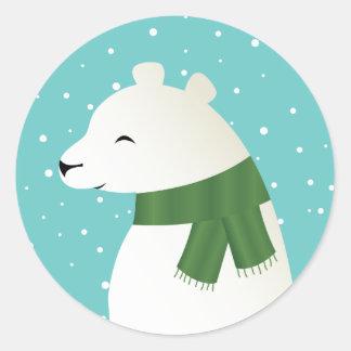 Smiling Winter Polar Bear Classic Round Sticker