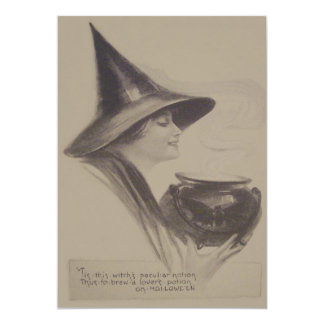 Smiling Witch Cauldron Spell Potion Sepia Card