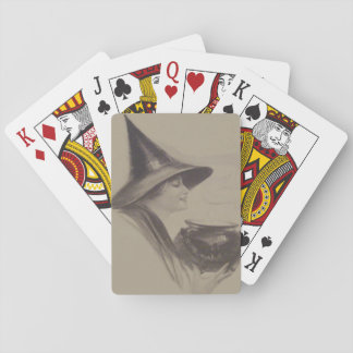 Smiling Witch Cauldron Spell Potion Sepia Card Decks