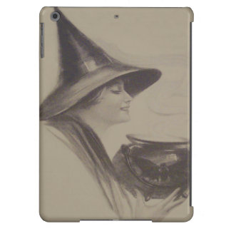 Smiling Witch Cauldron Spell Potion Sepia Cover For iPad Air