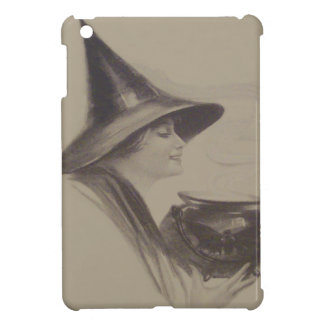 Smiling Witch Cauldron Spell Potion Sepia iPad Mini Case