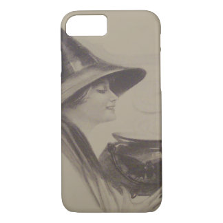 Smiling Witch Cauldron Spell Potion Sepia iPhone 7 Case
