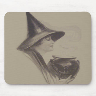 Smiling Witch Cauldron Spell Potion Sepia Mouse Pad