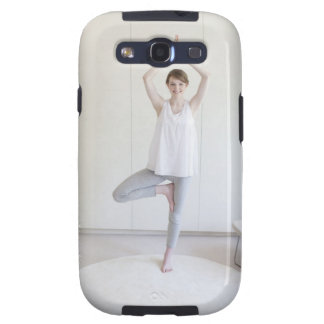 Smiling woman doing yoga samsung galaxy s3 cases