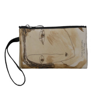 Smiling Woman on Coin Purse. Coin Wallet