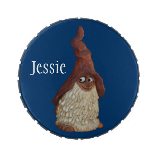 Smiling Wood Gnome Personalized Jelly Belly Candy Tin