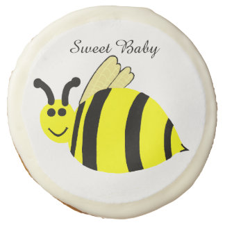 Smiling Yellow Bumble Bee Baby Shower Favor Sugar Cookie