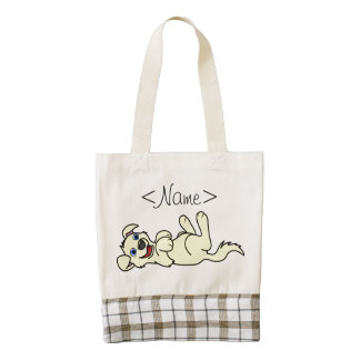 Smiling Yellow Puppy Dog Roll Over Zazzle HEART Tote Bag