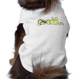 Smiling Yellow Puppy Dog with Blaze Roll Over Tee