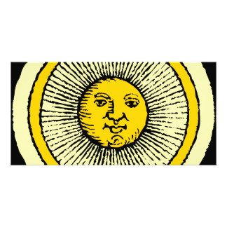 smiling yellow sun with line rays card
