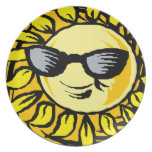 Smiling Yellow Sun With Shades Melamine Plate