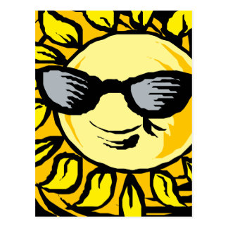 Smiling Yellow Sun With Shades Postcard