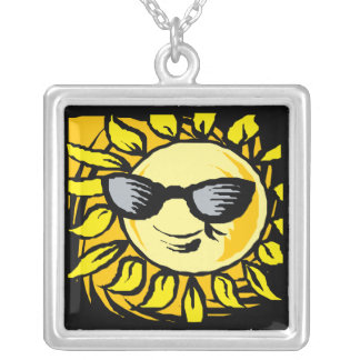 Smiling Yellow Sun With Shades Square Pendant Necklace