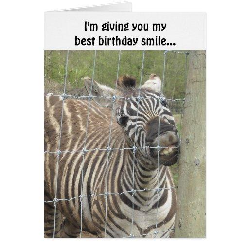 Smiling Zebra Birthday Card