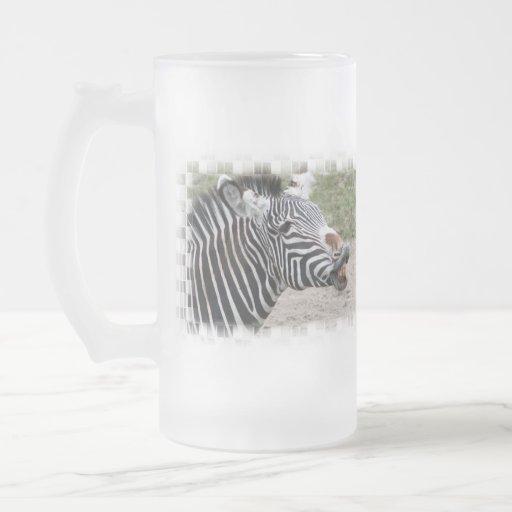 Smiling Zebra Frosted Beer Mug