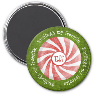 """""""Smiling's my favorite"""" Christmas Elf Quote 3 Inch Round Magnet"""
