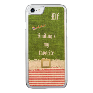"""""""Smiling's my favorite"""" Christmas Elf Quote Carved iPhone 7 Case"""
