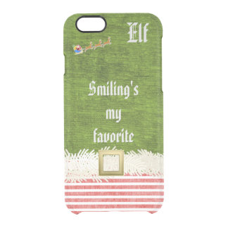 """Smiling's my favorite"" Christmas Elf Quote Clear iPhone 6/6S Case"
