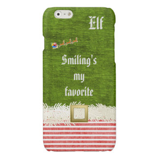 """Smiling's my favorite"" Christmas Elf Quote Glossy iPhone 6 Case"