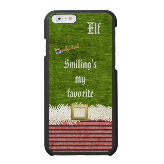 """Smiling's my favorite"" Christmas Elf Quote iPhone 6/6s Wallet Case"
