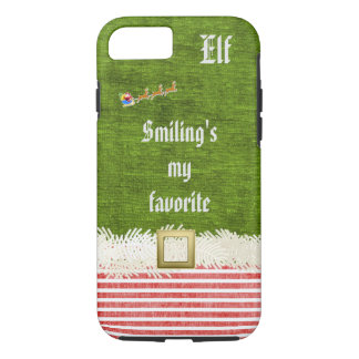 """Smiling's my favorite"" Christmas Elf Quote iPhone 7 Case"