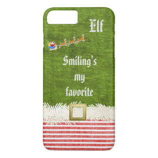 """Smiling's my favorite"" Christmas Elf Quote iPhone 7 Plus Case"