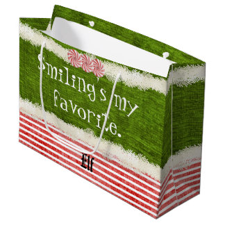 """""""Smiling's my favorite"""" Christmas Elf Quote (L) Large Gift Bag"""