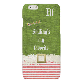 """Smiling's my favorite"" Christmas Elf Quote Matte iPhone 6 Case"