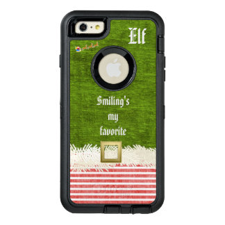 """Smiling's my favorite"" Christmas Elf Quote OtterBox Defender iPhone Case"