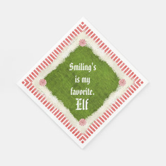 """""""Smiling's my favorite"""" Christmas Elf Quote Paper Napkin"""