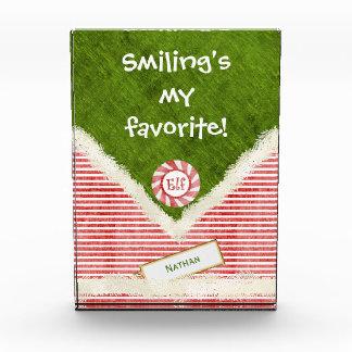 """Smiling's my favorite"" Christmas Elf Quote Photo Block"