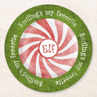 """""""Smiling's my favorite"""" Christmas Elf Quote Round Paper Coaster"""