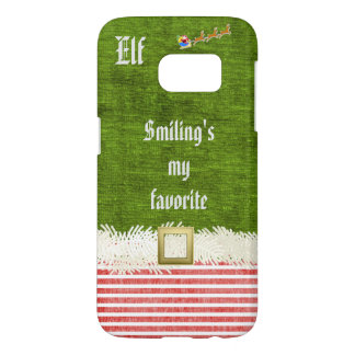 """""""Smiling's my favorite"""" Christmas Elf Quote Samsung Galaxy S7 Case"""