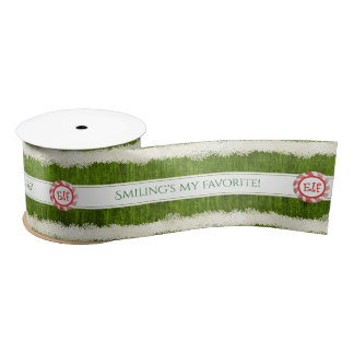 """""""Smiling's my favorite"""" Christmas Elf Quote Satin Ribbon"""