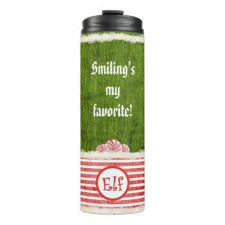 """Smiling's my favorite"" Christmas Elf Quote Thermal Tumbler"