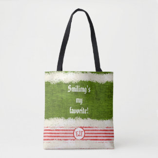 """""""Smiling's my favorite"""" Christmas Elf Quote Tote Bag"""