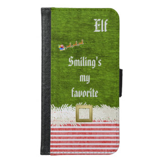 """Smiling's my favorite"" Christmas Elf Quote Wallet Phone Case For Samsung Galaxy S6"