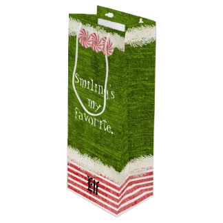 """""""Smiling's my favorite"""" Christmas Elf Quote Wine Gift Bag"""