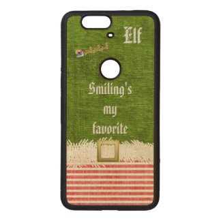 """Smiling's my favorite"" Christmas Elf Quote Wood Nexus 6P Case"