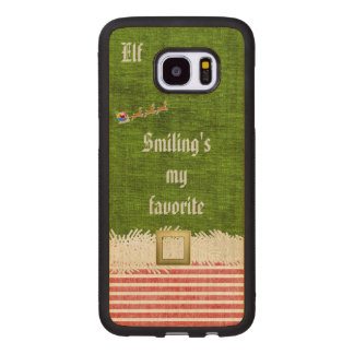 """""""Smiling's my favorite"""" Christmas Elf Quote Wood Samsung Galaxy S7 Edge Case"""