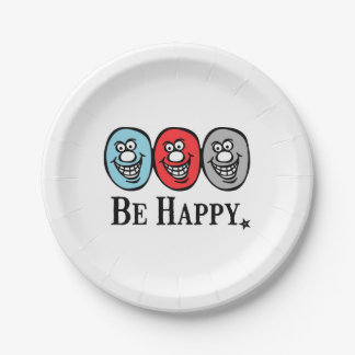 Smily Face (Be Happy) Paper Plate