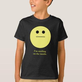 "smily-face not smiling ""I'm smiling on the inside"" T-Shirt"