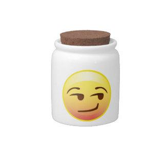 Smirk Smile Emoji Face Treat Candy Jar