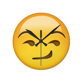 Smirking Face Emoji Round Clock