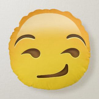 Smirking Face Emoji Round Pillow