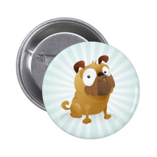 Smirking Pug - Light Blue Background Pinback Button